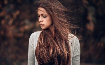 girl, portrait, model, hair, the wind, martin kuhn, zazou