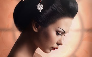 girl, profile, face, makeup, hairstyle, geisha