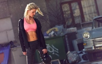 girl, blonde, model, fitness, weight, dumbbell, crossfit