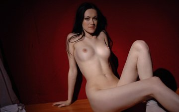 brunette, red, naked