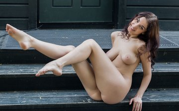 steps, girl, look, sitting, hair, face, naked