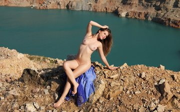 river, girl, sitting, naked