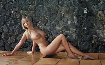 girl, blonde, sitting, wet, naked