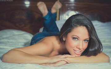 girl, smile, brunette, look, model, jeans, jimagination