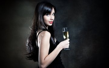 girl, brunette, look, glass, hair, black background, face, wine, champagne, blue-eyed