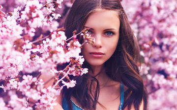 flowering, girl, look, spring, hair, face, pink flowers, blue-eyed