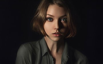 girl, portrait, look, black background, shirt, blue-eyed, george chernyadev, olga pushkina