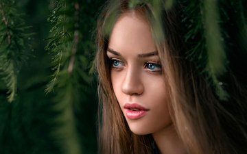 girl, look, hair, face, blue-eyed, george chernyadev, dasha