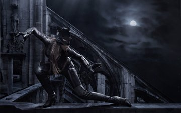 night, mask, pose, the moon, costume, boots, the parapet, catwoman, cat-girl