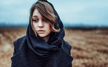 girl, portrait, sadness, look, model, shawl, photoshoot, george chernyadev