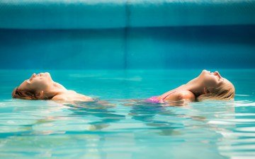 water, girls, pool, profile, closed eyes, jennny appach, kayla lyon