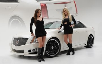 machine, girls, black dress, smile, blonde, boots, cadillac, brown-haired women