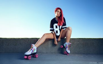 girl, look, sitting, face, t-shirt, red hair, videos, adea black bonnevie