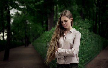 girl, park, blouse, long hair, closed eyes, nadya, maxim guselnikov