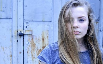 girl, blonde, portrait, look, model, hair, face, blue eyes, photoshoot, long hair, teen, volosi