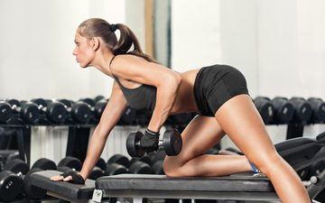 girl, chest, sport, fitness, dumbbells, gym