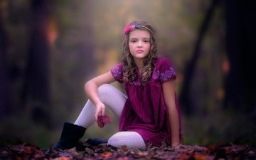 forest, leaves, dress, look, autumn, children, tights, girl, hair, face