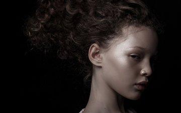 girl, model, profile, black background, berkeley clayborne