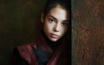 portrait, look, wall, girl, hair, face, brown-eyed, nastya, maxim maximov