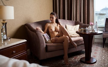 girl, sitting, sofa, naked