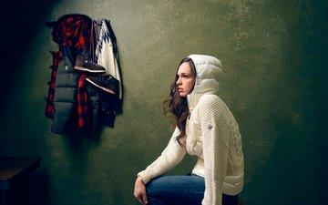 girl, jeans, actress, hood, blouse, sarah saryarka
