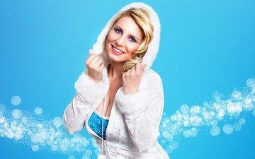 девушка, блондинка, улыбка, взгляд, волосы, лицо, снегурочка, капюшон