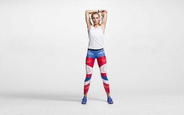 girl, pose, look, hair, nike, sneakers, sports wear, leggings