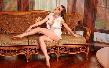 girl, model, chest, legs