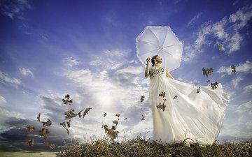 the sky, clouds, girl, meadow, model, umbrella, white dress