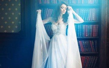 девушка, поза, книги, белое платье, полки, иван горохов