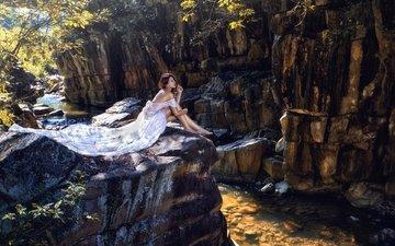 река, скалы, настроение, платье, ноги, азиатка, невеста