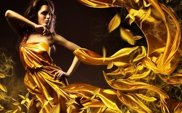 leaves, girl, dress, fire, model, curls, gold, curves, swirls, brown hair