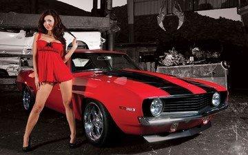 девушка, машина, взгляд, ножки, волосы, лицо, красное платье