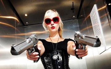 girl, weapons, blonde, glasses, model, hands, guns, red lipstick