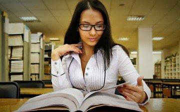 girl, glasses, books, chest, hair, library, reading