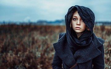 портрет, взгляд, лицо, фотосессия, пальто, георгий чернядьев