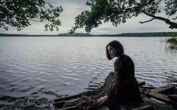 вода, озеро, природа, девушка, море, платье, модель, алина базанова, максим гусельников