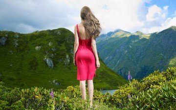 flowers, lake, mountains, hills, nature, girl, dress, back, hair, the wind