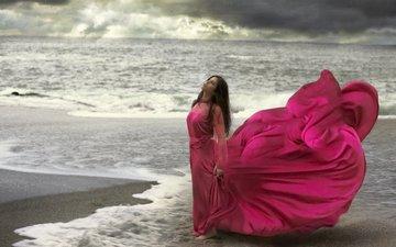 берег, девушка, море, взгляд, волосы, лицо, розовое платье