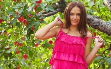 девушка, платье, взгляд, сад, волосы, лицо, яблоня