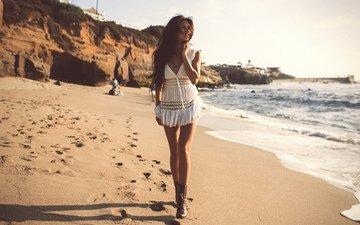 солнце, девушка, море, песок, пляж, лето, mabelynn