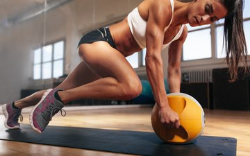 girl, pose, brunette, hair, face, fitness, the gym, workout
