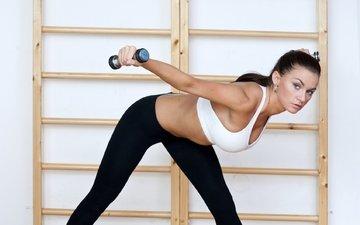girl, fitness, sports wear, the gym, dumbbells, training