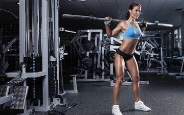 девушка, фитнес, спортивная одежда, штанга, тренировки, тренажерный зал