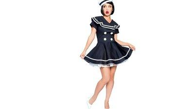 девушка, взгляд, ножки, волосы, лицо, костюм, морячка, красные губы