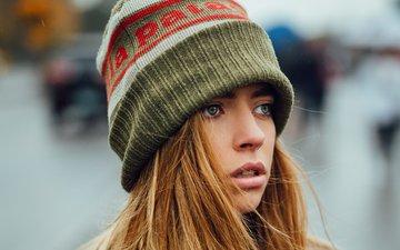 девушка, портрет, взгляд, волосы, лицо, шапочка, jesse herzog, marta