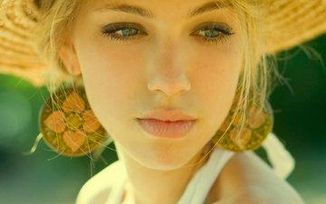 девушка, блондинка, взгляд, волосы, лицо, шляпа, сёрьги