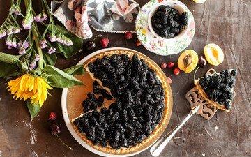 flowers, sunflower, berries, sweet, cakes, dessert, pie, mulberry