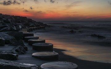 the sky, nature, shore, sunset, beach, horizon, wave, the ocean, the atlantic ocean, kure beach