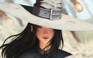 girl, look, hair, face, the wind, hat, long hair, black hair, yellow eyes